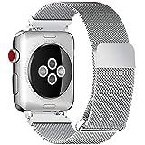 Fullmosa Bracelet Compatible avec Apple Watch/iwatch 38mm 40mm 42mm 44mm, 4 Couleurs Web pour Bracelet Apple Watch Series 4/3/2/1 Milanese en Acier Inoxydable avec Fermeture Magnétique, Argenté 38mm