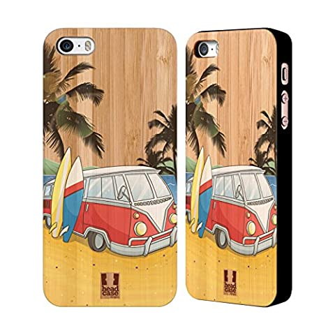 Head Case Designs Camping-car Surfeurs Étui Coque En Bois De Bambou Pour Apple iPhone 5 / 5s / SE