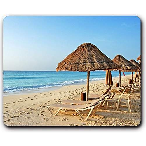 high quality mouse pad,beach chairs sand umbrellas,Game Office MousePad size:260x210x3mm(10.2x 8.2inch)