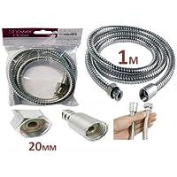 Générique-KIT avec 1 m de tuyau Flexible Standard en acier inoxydable chromé-Pommeau de douche Standard 1–1331–1