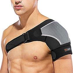 Schulterbandage Verstellbare Linke oder Rechte, SPITZE FORGE Neopren Unisex Kompatibel mit Kalte/Heiße Packung, zur Vorbeugung von Verletzungen, Gefrorenen Schultern, Verstauchungen, Schmerzen (Links)