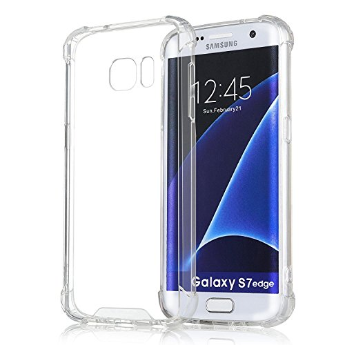 Elove Ultra-Slim Shock Absorbing [Hard PC + Soft TPU] Non-Slip Grid Back Cover For Samsung S7 Edge - Clear