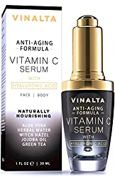 Vinalta Vitamin C Serum With Hyaluronic Acid for Face - Anti-Aging Facial Serum Reduces Wrinkles, Spots and Sun Damage - With Organic Pure Aloe Vera, Jojoba Oil and More - 1 OZ