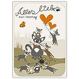 Grußkarte zum Vatertag mit süßer Katzen Familie: Alles Liebe zum Vatertag!