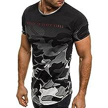 Koly Camisa de hombre manga corta Camisas de vestir Slim Fitness Tops camisetas Blusa de Camouflage camisa de polo de corte Camiseta Térmica de Compresión Pollover Shirt Top Blouse (Gris, M)