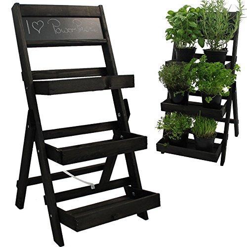 Escalier pour pots de fleurs en bois FSC® avec tableau pour faire des annotations - Bois impregné et résistant aux intempéries et durable