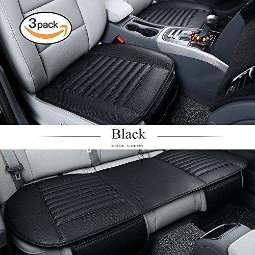 Hcmax quattro stagioni traspirante cuscino del sedile interno auto copertina tampone stuoia pelle sintetica carbone di bambù - 2+1 coprisedili anteriori e posteriori