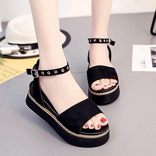 RUGAI-UE Con suole spesse sandali Donna Scarpe estive Scarpe piatte High-Heeled scarpe semplici Black