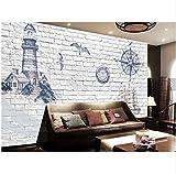 YFXGSTLI Fototapete Leuchtturm-Foto-Wandgemälde Minion Wallpaper Abstract Wallpaper Beacon Für Wohnzimmer Tv Hintergrund 3D-Ziegelstein-Tapete