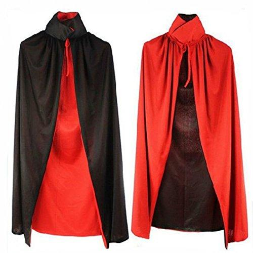 ge Umhang Kragen Doppelschichten (Schwarz und Rot) Karneval Erwachsenen Kostüm Cape Umhang für Männliche und Weibliche Cosplay Zauberer, Genius, Kleidung, Vampir, Krieger Halloween (Weiblichen Zauberer Kostüme)