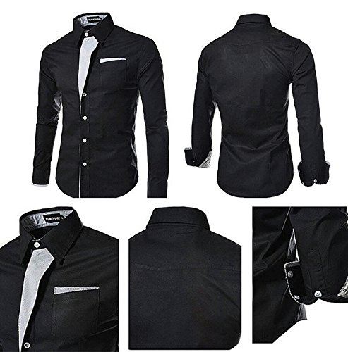 Pearl Ocean Men's Cotton & Crush Casual Shirt (black party...