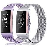 Gogoings Kompatibel mit Fitbit Charge 3 Armband Damen Herren Edelstahl Ersatzarmband Für Fitbit Charge3/SE Metallarmband Sport Fitness Tracker Zubehör Armbänder (Silver + Lavender, S)