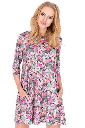 FUTURO FASHION - Robe avec poches motif fleuri manches 3/4 pour femmes FA394 Rose fleuri