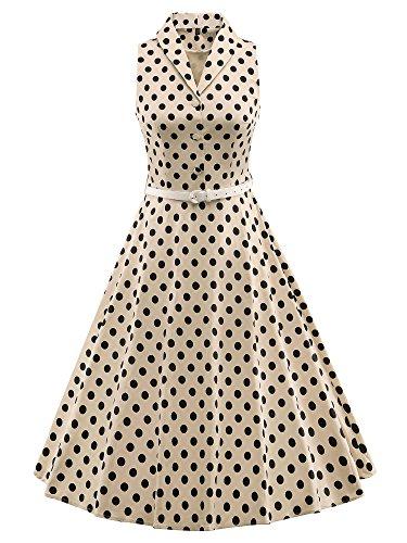 LUOUSE 'Luna' Solid Farben Vintage Serenity 50er Swing Kleid,DotBeige,L