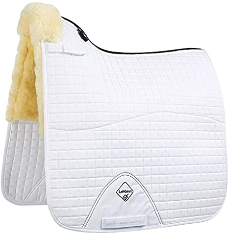 LeMieux Lambskin Dressage Square (Half Lined) - Natural Wool/White Fabric, Large