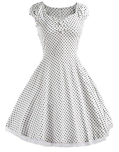 Vídeo de las mujeres cuadrado cuello Vintage Años 50Fiesta Swing Vestido De Dama blanco Dot white 38