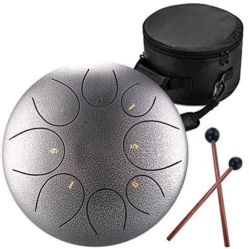 Handpan Zungentrommel 8 Noten 10 Zoll Chakra Tank Drum Stahl Percussion Hang Drum Instrument mit gepolsterter Reisetasche und Schlägel silber
