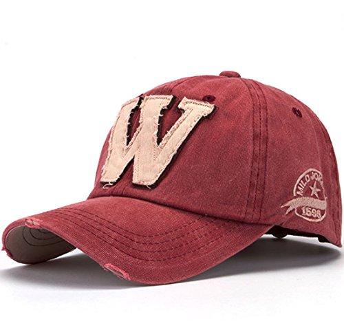 Distressed-design Baseball (Kuyou Vintage Baseball Kappe Unisex Sport Distressed Trucker Cap (Wine ))