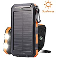 Soluser [2018 Upgraded] Solar Power Bank,10000mAh Portable Solar Charger External Backup Battery Pack Charger, IP67 Water-Resistant 2 USB Ports with 2 LED Flashlight, Carabineer and Compass