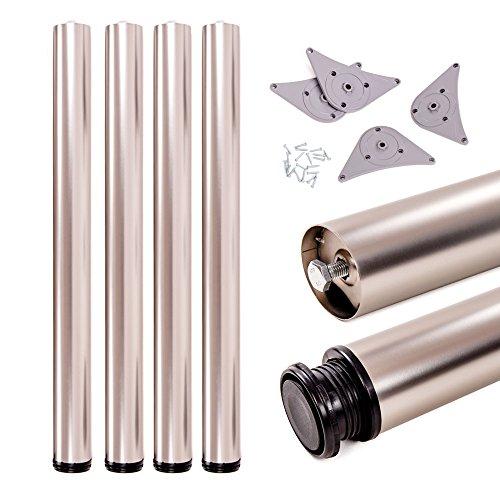 Juego de patas extensibles de mesa | Sossai® Premium TBS | Óptica de acero inoxidable | Altura regulable 710 mm + 20 mm | Set de 4 unidades