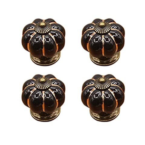 Un seul trou en forme de citrouille en céramique Poignée de cabinet Porte Tiroir Hardware Poignée de traction, Lot de 4, noir