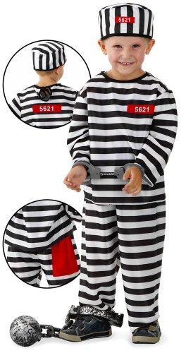 Häftling Kostüm inklusive Hose, T-Shirt und Mütze für Jungs & Mädchen mit 3-6 Jahren (Größe: 104/110/116) // Gefängnis Insasse Santa Fee Fasching Verkleidung Verkleiden Karneval Kostüm Kostüme Boy Girl Crook