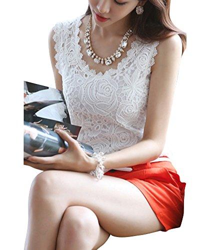 Damen Ärmellos Spitze V-Ausschnitt T-shirt Tank Tops Sleeveless Lace Vest Behälter Unterhemd Bluse Weiß
