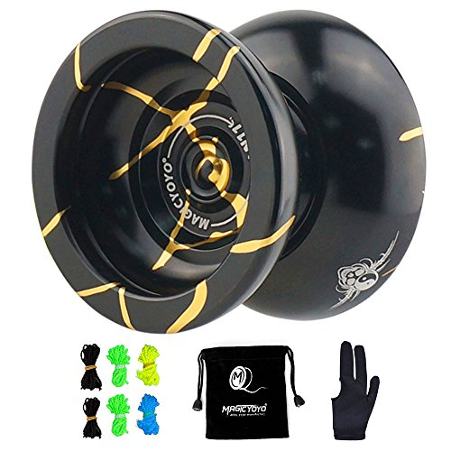 MAGICYOYO N11 Yoyo Professional Aluminium Alloy Unresponsive Pro Yoyos with 6 Strings and Glove and Yo-yo Bag Include(Black With Golden)
