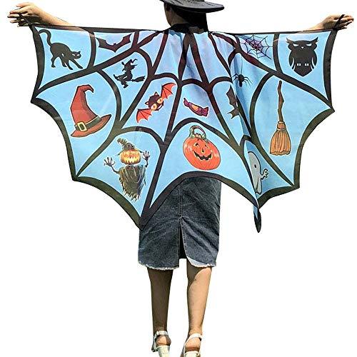 WOZOW Damen Schmetterling Kostüm Fasching Schals Nymphe Pixie Poncho Umhang für Party Cosplay Karneval Fasching (Himmelblau)