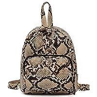 TOOGOO Casual Shoulder Bag Female New Wild Fashion Crocodile Pattern Contrast Color Student Backpack Khaki