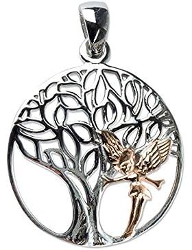 Anhänger Lebensbaum mit Elfe 925er Sterling Silber rhodiniert mit Rotgold Beschichtung