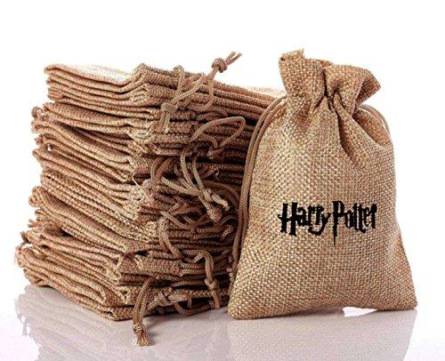 Harry Potter Theme Cute Present Taschen, Vintage Jute Geschenk-Taschen für Schmuck, schöne Geschenke, Hochzeitsfest Gefälligkeiten, handliche Spieluhr. Geschenktüten mit Kordelzug (10 Stück)