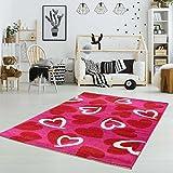 MyShop24h Kinderteppich Teppich Kinder Mädchen Spielteppich Herzen Rosa Kinderzimmer Spielzimmer, Größe in cm:80 x 150 cm, Muster:Herz