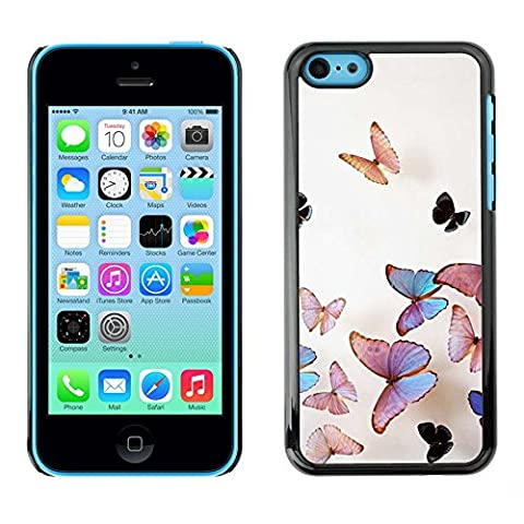 All Phone Most Case / Hard PC Metal piece Shell Slim Cover Protective Case Housse Coque Étui de protection pour Apple Iphone 5C butterfly peach iridescent pink nature