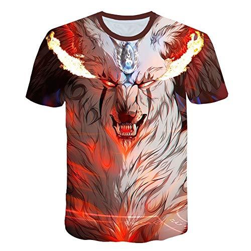 XIAOBAOZITXU T-Shirt Große Mode Kurze Ärmel Flammendes Biest Unisex-Paarkostüm Enge Passform Cooles Lustiges Sommersport-T-Shirt 4XL -