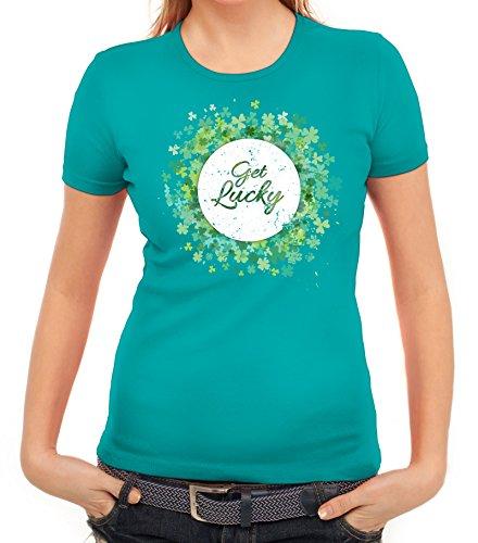 ShirtStreet Irland Paddy Saint St. Patrick's Day Partner Gruppen Damen T-Shirt Get Lucky karibikblau