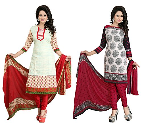 SKY GLOBAL Women's Polyester Printed Salwar Suits Dress Materials (Combo pack of...