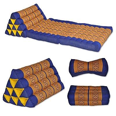 Kapok Thaikissen, Yogakissen, Massagekissen, Kopfkissen, Tantrakissen, Sitzkissen - Blau/Gelb