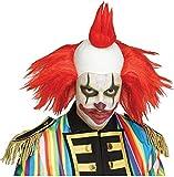 shoperama Clown Perücke mit Glatze und bunten Haaren Horror Killer verrückter Evil Zirkus Freak Show, Farbe:Rot