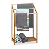 Relaxdays Bamboo Towel Holder, 3 Towel Rails, Freestanding, Shelf, Modern, Size: ca 85 x 51 x 31 cm, Natural Brown