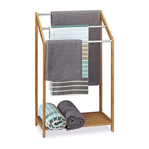 Relaxdays Handtuchhalter Bambus, 3 Handtuchstangen, Freistehend, Ablage, modern, HxBxT: 85 x 51 x 31 cm, natur Test