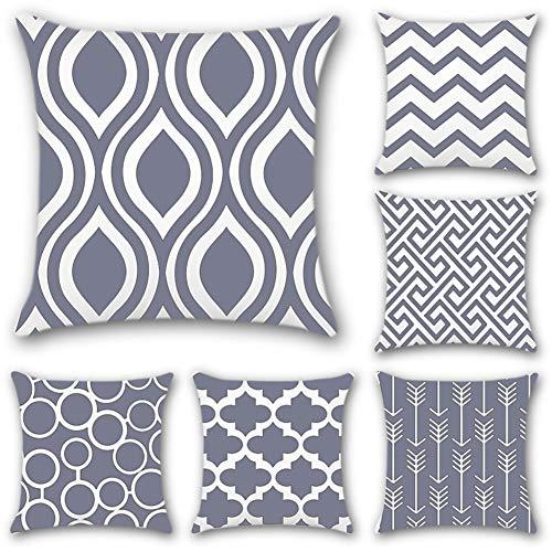 JOTOM 6er Set Kissenbezüge 45x45 cm Kissenhüllen in Segeltuch mit Geometrischen Mustern für Sofa Auto Terrasse Zierkissenbezüge Serie (Segeltuch Grau) -