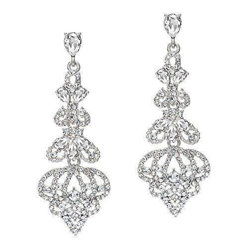 Coucoland 1920s Ohrringe Damen Retro Stil Perlen Dangle Ohrringe Inspiriert von Great Gatsby Damen Kostüm Accessoires (Stil 1-Silber)