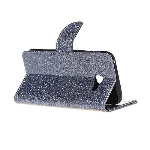 Samsung Galaxy A5 ( 2017 ) Hülle, Samsung Galaxy A5 ( 2017 ) Schutzhülle, Alfort 3 in 1 Lederhülle Bling Glitter Fashion Design Premium PU Leder Hohe Qualität Tasche Case Cover Kasten Abdeckung Wallet Grau