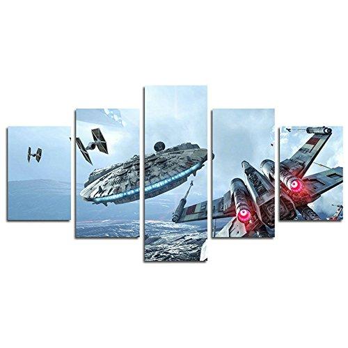 Leyruk 5 Stück Millennium Falcon X Flügel Leinwand Art Star Wars Print Poster Dekoration (kein Rahmen) ungerahmt HD032 50 inch x30 inch