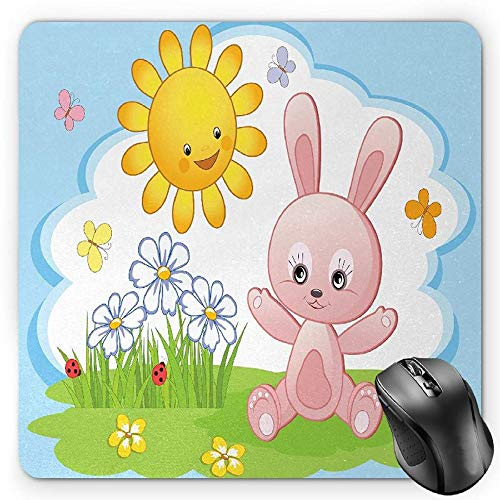 BGLKCS Children Mauspads Mouse Pad, Cute Bunny Rabbit in Flower Garden with Happy Sun Lady Bugs and Butterfly Print, Standard Size Rectangle Non-Slip Rubber Mousepad, Multicolor -
