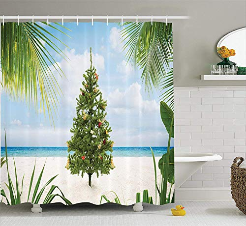 ower Curtain, Tree with Tinsel and Ornaments Tropical Island Sandy Beach Party Theme, Fabric Bathroom Decor Set with Hooks,60 * 72inch, Green Blue Cream ()
