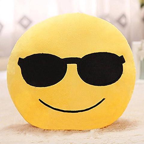 Showkoo Moda Emoji ventaglio tondo forma cuscino Per Office Nap - faccia freddo