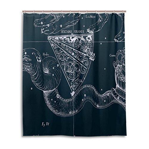 Tenda da doccia 152,4x 182,9cm, Fantasy grafico costellazione Sestante Uranie, a prova di muffa poliestere tessuto bagno tenda