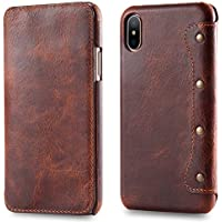 Bestsky Funda iPhone X, iPhone 10 Caso, Carcasa de Piel, Funda de Piel Real para iPhone X, Carcasa con Tarjetero, Cartera, Funda de Piel para Apple iPhone X/iPhone 10,Marrón Oscuro